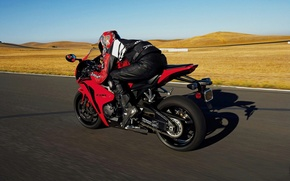 Picture red, speed, track, costume, helmet, adrenaline, sportbike, protection
