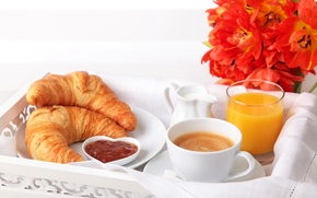 Picture flowers, Cup, juice, milk, cappuccino, coffee, orange, plate, tulips, croissants, Breakfast, bagels, glass, jam
