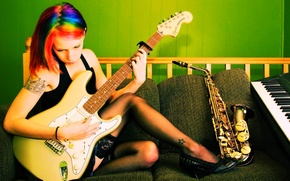 Picture girl, music, instrumento
