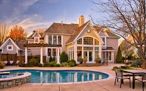 Picture house, landscape, the building, pool, patio