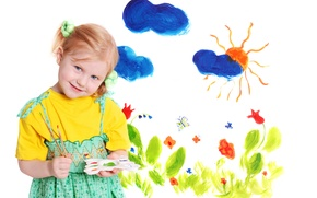 Wallpaper color, clouds, flowers, children, childhood, figure, child, The sun, colors, artist, beautiful, blue eyes, painting, ...