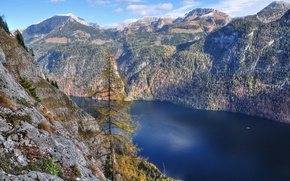 Picture landscape, mountains, lake, tree, slope, the fjord