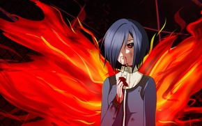 Picture dark, fire, flame, girl, blood, game, monster, anime, wings, beautiful, red eyes, pretty, predator, assassin, …