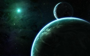 Picture green, light, stars, planets, planet, shadows, darkness, Sci Fi