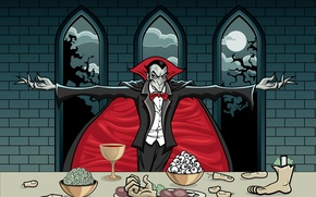Picture eyes, night, table, the moon, blood, hand, window, brain, fingers, leg, cloak, count, Cup, Dracula, …