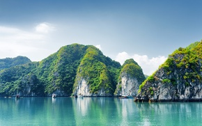Picture Nature, Rock, Boats, Vietnam, Halong Bay