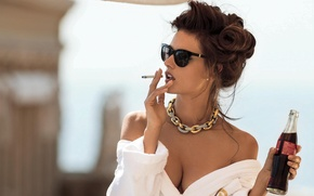 Wallpaper cigarette, bottle, Coca-Cola, Alessandra Ambrosio, Maxim, Bathrobe, Gilles Bensimon, hairstyle, brunette, chest, glasses, photoshoot, sexy, ...