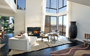 Picture style, interior, the city, penthouse, balcony, city apartment, fireplace, living space, design