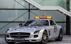 Picture machine, silver, front view, Mercedes, safety car, SLS, mercedes-benz sls amg, gt f1