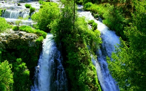Picture greens, water, waterfall, bright, a lot