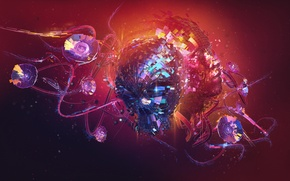Picture desktopography, face, digital art, junkflow