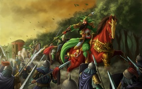Picture wagon, weapons, horse, Asia, art, warrior, rider, battle, samurai, attack, spear, horse, forest