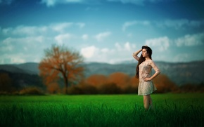 Picture field, freedom, girl, nature, Ezra