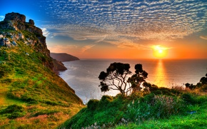 Picture reflection, mountains, horizon, grass, sea, Exmoor, Exmoor, tree, the sun, the sky, rocks, clouds, sunset