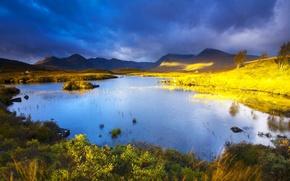 Picture landscape, mountains, clouds, lake, Scotland, Rannoch Moor