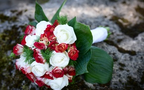 Picture roses, bouquet, ring, beautiful, wedding, beautiful, Roses, ring, lovely, wedding, elegant, Bouquets
