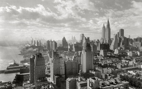 Wallpaper Manhattan, skyscrapers, New York City, black and white, picture, home, New York, the city, skyscrapers, ...