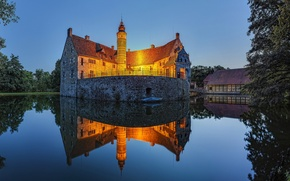 Picture trees, lake, castle, the evening, lighting, twilight