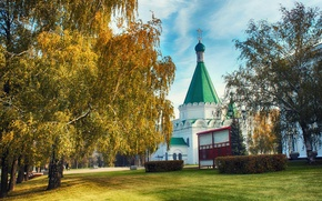 Picture autumn, Church, temple, birch, The Kremlin, Golden autumn, Nizhny Novgorod, Nino, Lower