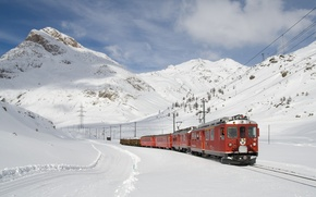 Wallpaper red, snow, mountains, train