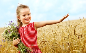 Picture happiness, flowers, children, childhood, child, bouquet, smile, flowers, wheat field, child, bouquet, childhood, children, happiness, …