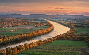 Picture autumn, river, the evening, valley, the village