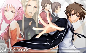 Picture friends, gesture, students, fan art, guilty crown, pink hair, inori yuzuriha, guilty crown, shu ouma
