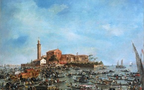 Picture sea, the sky, the city, picture, boats, channel, gondola, Venice, Francesco Guardi