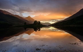 Picture the sky, water, sunset, hills, Scotland, September, Highlands