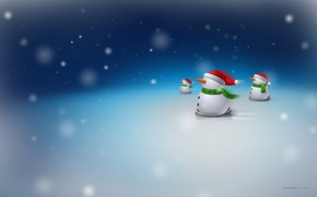 Wallpaper snow, X'mas, snowmen, new year