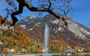 Picture autumn, trees, mountains, lake, home, Alps, fountain