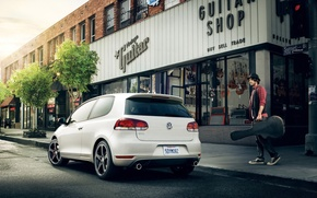 Wallpaper road, auto, music, people, home, guys, the sidewalk, road, men, volkswagen golf, boys, stores, stores