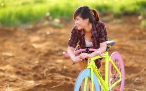 Picture summer, girl, bike, Asian
