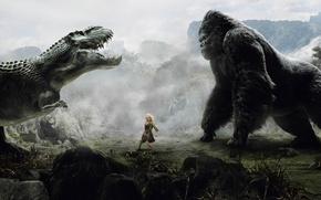 Wallpaper girl, dinosaur, king Kong