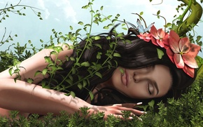 Picture grass, girl, flowers, hair