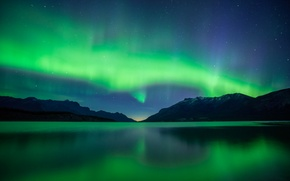 Wallpaper the sky, stars, mountains, lake, reflection, Northern lights, mirror