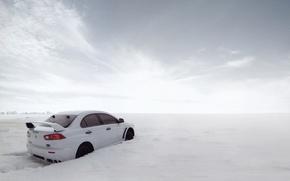 Picture snow, the snow, cars, auto, evolution, mitsubishi lancer