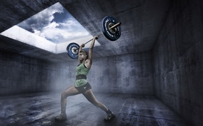 Picture girl, sport, rod