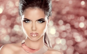 Picture look, girl, eyelashes, background, hair, makeup, lips, tail, shoulders