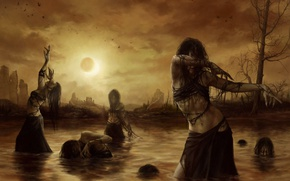 Picture water, birds, Eclipse, ruins, witches, awakening, witches, the uprising