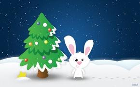 Wallpaper Tree, Hare, Star, New year, rabbit, Snow