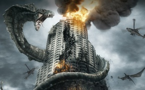 Wallpaper battle dragons, giant, the building, dragon, smoke, snake, helicopters, Cobra, fire