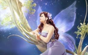 Picture flower, girl, decoration, night, tree, the moon, wings, branch, fairy, art, Hyung Jun Kim, K.jun …