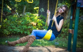 Picture summer, girl, face, smile, swing, Madeleine