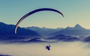 Picture sky, landscape, nature, mountains, fog, sports, mist, Paragliding, parachutes