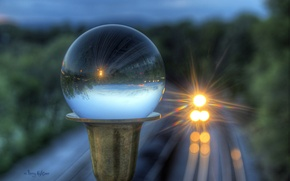 Picture glass, glare, reflection, ball, train