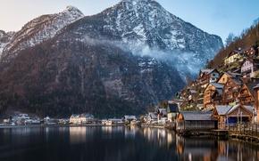 Wallpaper winter, forest, mountains, nature, lake, home, Austria, Alps, Hallstatt, a monument of UNESCO, municipality
