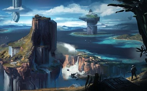 Picture water, rocks, people, view, facilities, concept art, halo 4, halo spartan
