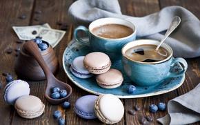 Picture berries, coffee, cookies, blueberries, dessert, macaron