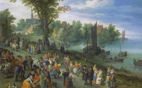 Wallpaper landscape, Jan Brueghel the elder, people, trade, Fish Market on the River, picture